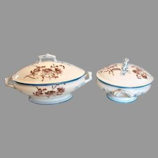 French Limoges Set Matching Covered Casserole Vegetable Blue Enamel Daisies Twig Leaf Handles c 1870 - 1880