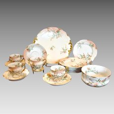 Limoges Dessert Set Thistles 4 Cups Scrs 6 Plates Cake Platter Tea Bowl c 1894 - 1900