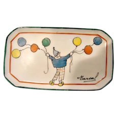 French Paris Small Pin or Tip Tray Hand Painted Boy Balloons Studio Bastard c 1912 - 1937