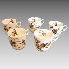 Haviland Limoges 5 Demitasse Espresso Cups Old Blackberry c 1876 - 1880