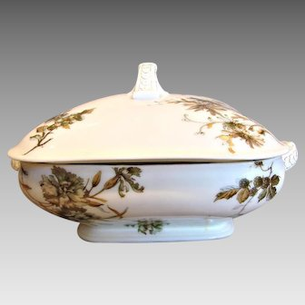 Haviland Limoges Square Covered Vegetable or Casserole Old Blackberry c 1876 - 1889