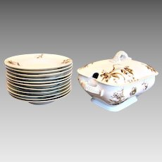 Haviland Limoges Soup Set – Tureen & 11 Soup Bowl Plates Old Blackberry c 1876 - 1889