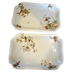 """Haviland Limoges Set 2 Platters 12.5"""" by 8.25"""" Old Blackberry c 1876 - 1889"""