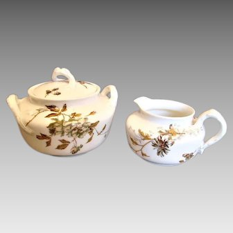 Haviland Limoges Sugar & Creamer Old Blackberry c 1876 - 1889