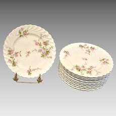 """French Haviland Limoges Set 11 Plates 7 ¾"""" Julia Pink Roses Torse c 1960"""