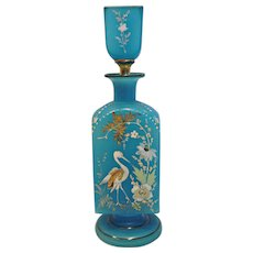 French Blue Opaline Art Glass Bottle for Chemicals, Cologne or Perfume Enameled Bird Heron or Egret c 1840 - 1850