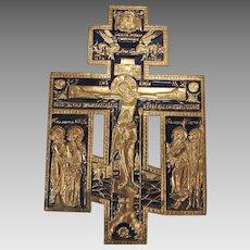 Russian Cast Metal Crucifix Cross Icon Brass Enamel Orthodox c 1850