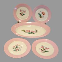French Haviland Limoges Multi Floral Botanical Dessert Lunch Set Platter 4 Plates Pink Rims c 1879 - 1889