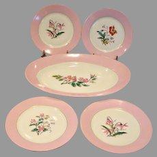 French Haviland Limoges Multi Floral Botanical Dessert Lunch Set Platter 4 Plates Pink Rims c 1879 - 1889