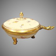 German Dresden Footed Box w Handle Flowers c 1883 - 1893