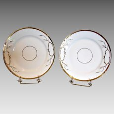 French Limoges Pair Matching White Gold Cake Plate Platters c 1880