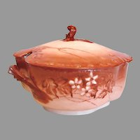 French Haviland Limoges Soup Tureen Hand Painted Blackberries Shaded Red c 1888 - 1896