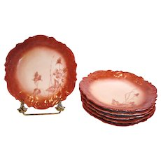"""French Limoges Set Six 7"""" Salad or Dessert Plates Hand Painted Blackberries Shaded Red c 1891 - 1914"""