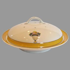 French Limoges Covered Pancake Dish Art Deco Yellow White Fruit c 1900 - 1941