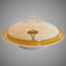 French Limoges Covered Pancake Dish Art Deco Yellow White Fruit c 1900 - 1941