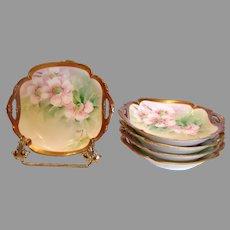 Italian Ginori Set 5 Artist Painted Berry or Ice Cream Bowls Apple Blossoms c 1900