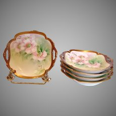Italian Ginori Set 5 Artist Painted Berry or Ice Cream Bowls Apple Blossoms c 1900