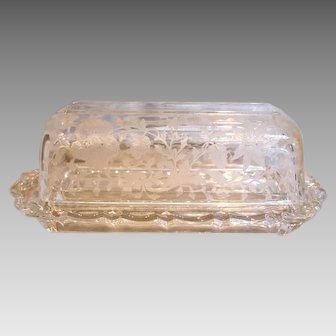 American Cambridge Elegant Clear Glass Quarter Pound Covered Butter Etched Pattern Wildflower c 1940s – 1950s