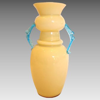 "Bohemian Czech Art Glass Vase 8"" Blue Handles Signed c 1930"