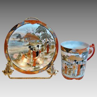 Japanese Kutani Exquisite Demitasse Chocolate Expresso Cup Saucer Hand Painted People Scene c 1900