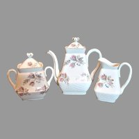 French Limoges Moss Rose Tea Set –  Family Size Teapot, Sugar, Cream Pitcher – c 1890