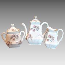 French Limoges Moss Rose Tea Set –  Family Size Teapot, Sugar, Cream Pitcher – c 1890