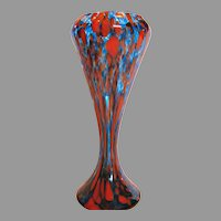 "Bohemian Czech Art Glass Vase 11"" Blue Red c 1930"