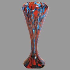 "Bohemian Czech Art Glass Vase 11"" Blue Red c 1930"