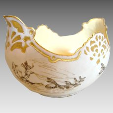 French Centerpiece Bowl Hand Painted Bees Pulling Magic Flying Carpet, Birds, Butterflies, Insects c 1880