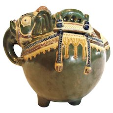 "Japanese Banko Ware Figural Elephant Pot or Jar Glazed Green Earthenware Pottery 7 ¾"" Long c 1890"