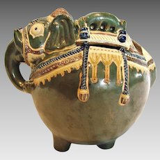 "Japanese Banko Ware Figural Elephant Pot or Jar Glazed Green Earthenware Pottery 7 ¾"" Long c 1890"