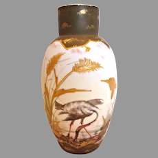 Bohemian Czech Harrach Art Glass Vase White Opaline Hand Enameled Heron Bird c 1890