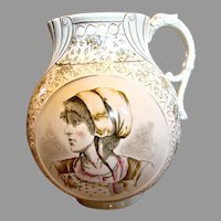 "English Staffordshire Creamware 11.5"" Large Jug (Vase or Pitcher) Transfer Portraits Dragon Handle c 1850"