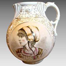 "English Staffordshire Creamware 11.5"" Large Jug (Vase or Pitcher) Transfer Portraits Dragon Handle c 1850"