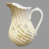 Haviland French Limoges Pitcher or Jug Blue Flowers Gold Accents c 1960