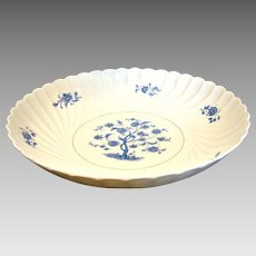 """Haviland French Limoges Bowl 10.75"""" Blue Tree Gold Accents c 1967"""
