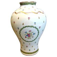 """Haviland French Limoges Vase 8.5"""" Vieux Paris Vert c 1970"""