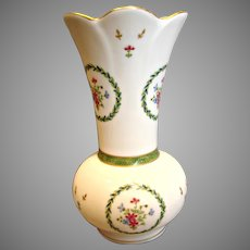 "Haviland French Limoges Vase (Brush Holder or Spooner) 7.25"" Vieux Paris Vert c 1970"