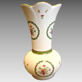 "Haviland French Limoges Vase (Brush Holder or Spooner) 7.25"" Vieux Paris Vert c 1970"
