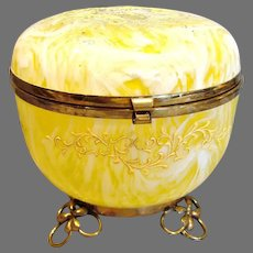 Bohemian Czech Art Glass Box Yellow White Swirl Metal Feet c 1890