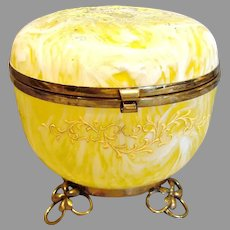 Bohemian Czech Art Glass Box Yellow White Swirl Metal Feet c 1890