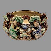 Chinese 2 Seated Mud Men (Mudmen) Drinking Tea Part of Bowl or Bonsai Planter c 1890 - 1919