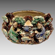 Chinese 2 Seated Mud Men Drinking Tea Part of Bowl or Bonsai Planter c 1890 - 1919