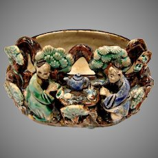 Chinese 2 Seated Mud Men (Mudmen) Drinking Tea Part of Bowl or Bonsai Planter c 1890 - 1919