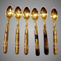 German Set 6 Silver Spoons Dresden Porcelain Handles Heinrich Mau c 1890