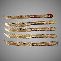 German Set 5 Silver Knives Fox Chasing Rabbit Dresden Porcelain Handles Heinrich Mau c 1890