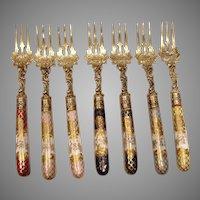 German Set 6 Silver Forks Dresden Porcelain Handles Heinrich Mau c 1890