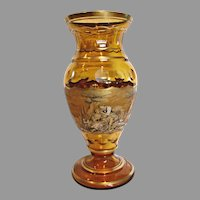 "Huge 17"" Bohemian Czech Pohl Amber Art Glass Vase Pen Sketch c 1930s"