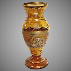 "Huge 17"" Bohemian Czech Pohl Amber Art Glass Vase Pen Sketch c 1930s"