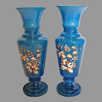 "Bohemian Czech Pair Blue Art Glass Vases 12"" Cased White Enameled Leaves Flowers c 1900"